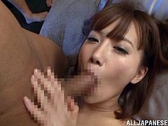 This Japanese slut is ready for a gangbang. She invites a bunch of guys over to fuck her. She gets her tight asshole fingered and then she takes cock up her ass while a bunch of guys sit around and jerk off while they watch her get fucked.