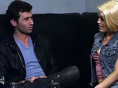 Ash is hanging out with James Deen in a cool bar. She decides that he seems like a nice guy so why not fuck with him, right there in the club. She gets her panties pulled down and sucks him hard. What a dirty girl!. She does a good job at sucking his thick cock.