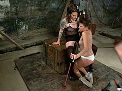 See how this lovely babe is getting tortured, strapon fucked, toyed and more in this lesbian BDSM session.