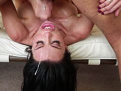 sensual brunette takes it deep in the throat