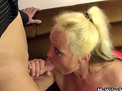 Check out this horny grandma having fun with her son in law. She sucks him off and then takes his cock deep up her fat horny cunt!
