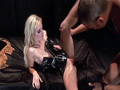 Angela Stone is wearing a really sexy corset that covers her tiny tits. This guy takes it off her fast and gives her his cock to taste. Then, he bangs her fit body hard.