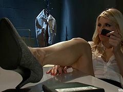 Sexy Trina Michaels gets tied up by amazing Ashley Fires in a nuthouse. Later on she gets toyed in both holes with a vibrator and the electric dildo.