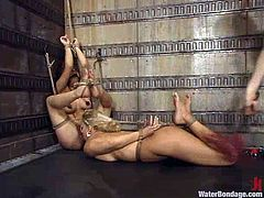 Two slutty chicks Mia Bangg and Victoria Sweet get bound by a dominatrix in a basement. The mistress showers the hussies with cold water and pounds their vags with dildos.