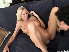 Emma Starr with juicy hooters is too horny to resist James Deens rock solid ram rod