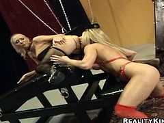 A couple of slutty fucking bitches suck on a hard cock and then get it shoved balls deep into her fucking gash, check it out right here!