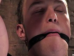 Blonde chick in latex clothespins guy's dick and whips his ass as hard as she can. After that she rides the dick and sits on his face.