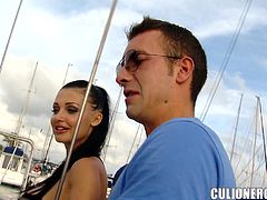 Amazing brunette porn star Aletta Ocean is having fun with some guy on a yacht. She favours the dude with a terrific blowjob and then allows him to drill her sweet pussy from behind.