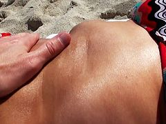 Our guy is trying to convince this black haired sexy babe while she lying on the beach and enjoying the sun. When she is fully convinced the big dick guy is taking her to a quite place where she reveals her big tits and shaved cunt. Then she is stuffing her pretty mouth with my huge man meat.