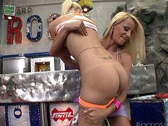 Outrageously sexy blonde hotties kiss passionately. Then caress and eat one another having hot lesbo fuck. Then, the lucky dude joins the party and gets his dick sucked deepthroat.