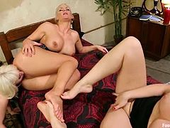 Cherry Torn, Phoenix Marie and Sarah Blake in hot foot worship video. These nasty chicks lick feet and then start to shove them in each others pussies.