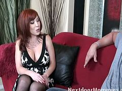 Red head MILF Brittany OConnell serves huge cock on the couch. She lets him indulge in her cum starving mouth and tasty wet pussy slit. She will arouse your horny cravings today.