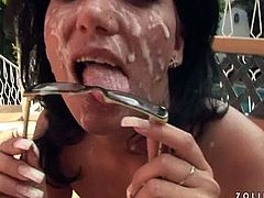 This four-eyed wench is a super qualified slut when it comes to pleasing men. She takes one dick after another sucking them all passionately until she gets a facial.