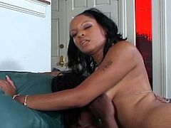 Latina whore Precious rides massive black cock deep inside her tight pussy on the green couch. She moans with so much pleasure as that tool wrecks her slit. Intense pleasure is what she gets from him in this encounter.