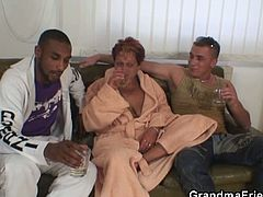 Naughty grandma takes two dicks at once in this nasty threesome video. Granny gets a bit drunk and doesn't think twice before opening her legs and mouth for two young hard studs.