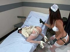 Apart form the bondage action, there's going to be crazy toying and strapon action between these two naughty nurses in the hospital.