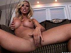 A slutty fuckin' whore sucks on a hard cock and then gets it shoved balls deep into her fuckin' gash, check it out right here!