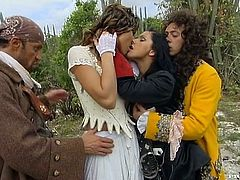 Jennifer Stone and Nikky Rider wearing medieval dresses are having fun with two studs in the mountains. The hussies please the dudes with blowjobs and then get their vags and butts pounded hard.