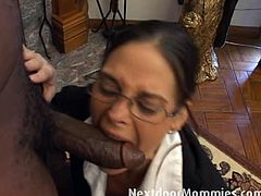 Come and see how a geeky brunette milf sucks a hard rod of black and gets creampied in this nasty interracial free porn video. The party is definitely getting hot here!
