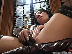 Beautiful dark-haired girl Nadia is having fun indoors. She shows off her amazing body and then sits down on a sofa and gets her coochie slammed by a fucking machine.