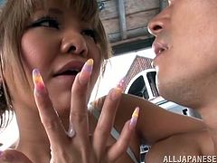 This petite and sizzling Japanese honey in bikini is going to make this dude cum on her gentle hands. Babe is so good at handjob!