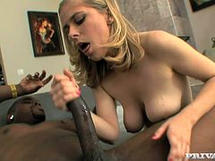 Slutty slim blonde Penny Pax gives a nice blowjob to some black dude and lets him drive his dick into her pussy. She rides it for a while and then begs the man to slide his BBC into her stretchy butt.