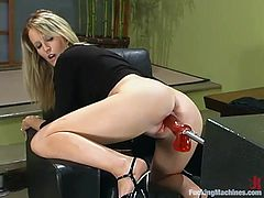 THis kinky and desirable blond siren Jessica Sexin is under a wild fucking machine penetration! Babe loves it from behind and she gets it rough!