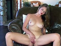 Dreamy long haired babe Shae gets naked and treats her neatly trimmed pussy with some hot fingering and delicate masturbation.