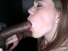 Lustful chick shows her love for big dicks. She sucks many different cocks. Black, white dicks and then gets her mouth filled with cum. She swallows the every drop happily.