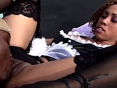 Check out cute ebony babe Misty Mason in her maid uniform. She sucked on his big black cock on the tennis court and prepared it for some heavy outdoor humping!