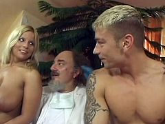 Old nasty guy is between two horny naked girls and he makes them insane when he talks with them about sex and what they can do to each other.