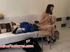 Amateur brunette stripping on camera as her horny performance for her audition. She will make sure that all you guys will get satisfied. Your manhood is no match to her sexy body.