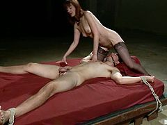 Slim mistress in dominates and toys a guy in the ass