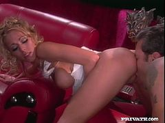 Delightful Katie Morgan stands on all fours getting her pussy licked. Later on she sucks the guy off and gets fucked hard in different poses.
