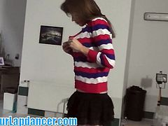 This chick looks like the average schoolgirl, but when she started dancing it all turned into a nasty lapdance and an amazing blowjob!