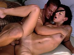 Engaging brunette Rihanna Samuel is having a good time with some dude indoors. She favours him with a passionate blowjob and then they bang in side-by-side and other positions.