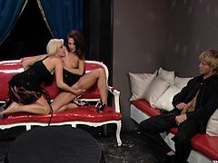 Two smoking hot and super naughty sirens Daria Glower and Leony April are so fucking sexy and so filthy! They get naked and starts going naughty on his cock!