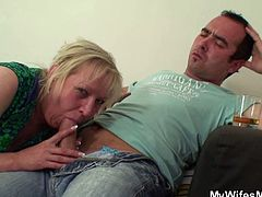 This guy had a few drinks, so his wife's mom seduces him easily. She sucks him off and then he fucks her fat cunt from behind. The fun ends when the wife arrives home.