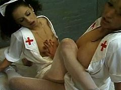 Watch two horny lesbian Latin nurses play with their sweet cunts while taking some time off from their jobs. See them devouring and rubbing those cunts into a massive orgasm.