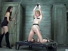 Electrical devices are put on Ami Emerson's nipples while she is tied and toyed in this lesbian BDSM session.