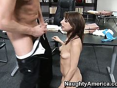 Lexi Bloom shows hardcore tricks to Mark Wood with desire