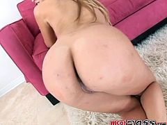After toying her ass, Kelly Wells was ready for the hardcore pounding for her throat, pussy and butthole.