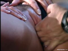 Lewd blonde milf Sophie Evans is having fun with some dude indoors. She lets him play with her shaved pussy and then gives him a wonderful blowjob and they have anal sex in side-by-side and other positions.