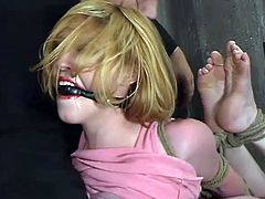 This passionate and sassy siren Darling is enjoying how she gets tortured. At first, she gets pleased in her twat with a stick. Then her tits get tied hard and she gets hogtied at the end!