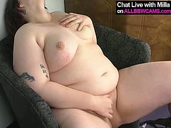 Voracious pale skinned BBW whore fondles her wet clam with her fingers. After she cums from masturbation she smokes a cigarette.