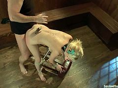 Sexy Katie Kox gives hot blowjob to a guy in an empty bar. After that he ties her up and fucked this girl in a rough manner.