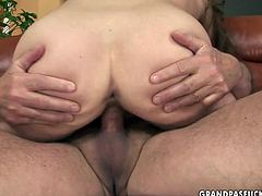 Hardcore old young fuck scene presented by 21 Sextury. Skanky girl gets her cherry eaten. Then bald perve thrusts his dick in her tight pussy hole pushing it deep and rough. Later she jumps on his shaft actively.