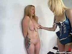 Captivating blonde cutie Adrianna Nicole is playing dirty games with dominant lesbian Cowgirl. She lets Cowgirl spank her ass and fuck her ass with a strapon from behind.