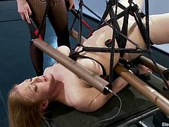 Two amazingly hot blonde babes play some rough lesbian games. Lorelei ties up Darling and the drills her pussy with an electric dildo.
