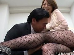 This dude is going to be a happier man today after Tamaki Nakaoka sucked his dick and offered her pussy for a fucking in the office.